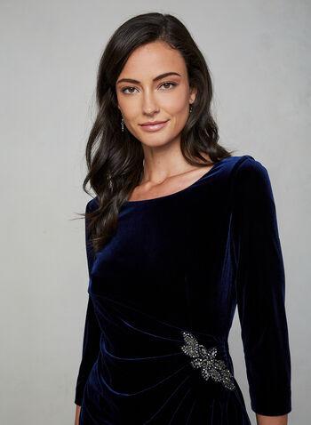 Alex Evenings - Robe drapée en velours, Bleu,  automne hiver 2019, robe, robe cocktail, drapé, velours, manches ¾, manches longues, robe à manches longues, billes, broderies