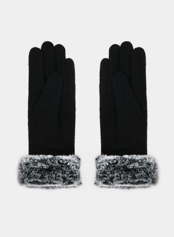 Fur Trim Wool Gloves, Black, hi-res