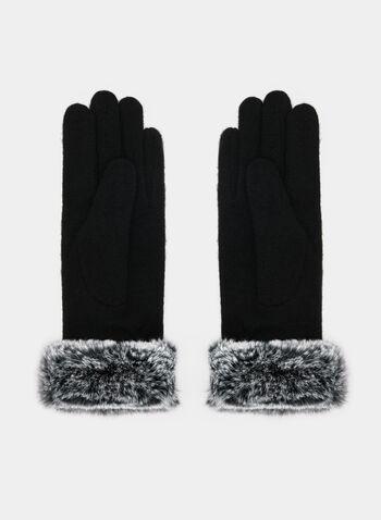 Gants bicolores à fourrure, Noir, hi-res