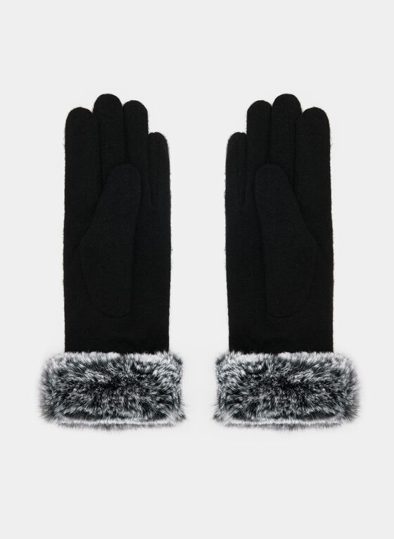Fur Trim Wool Gloves, Black, hi-res