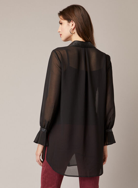 Vegan Leather Detail Tunic, Black