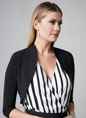 ¾ Sleeve Jersey Bolero, Black, hi-res