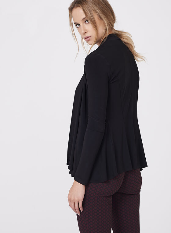 Long Sleeve Open Front Cardigan, Black, hi-res