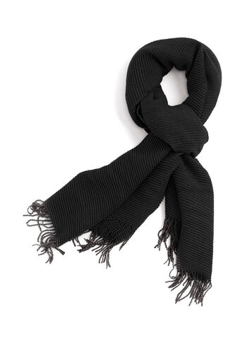 Ribbed Neck Wrap, Black, hi-res