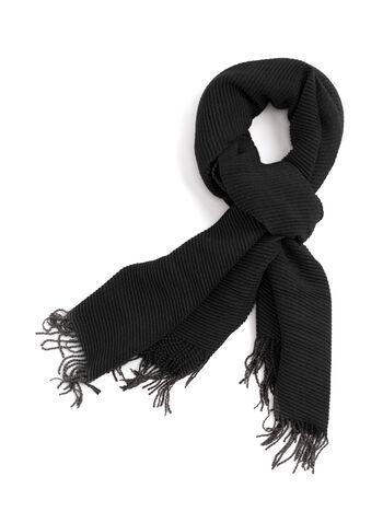 Écharpe pashmina texturée à franges, Noir, hi-res