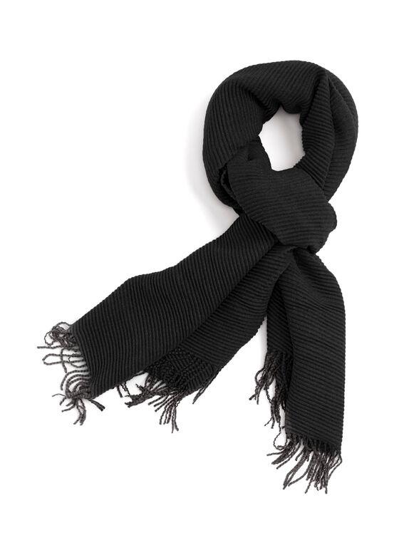 Ribbed Neck Wrap, Black, hi-res