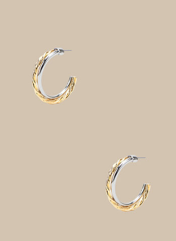 Two-Tone Open Hoop Earrings, Yellow,  spring summer 2020, metallic, two-tone, braided metal