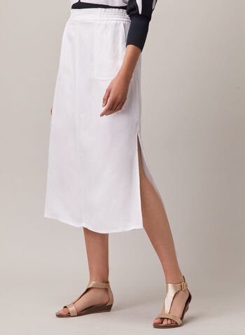 Linen Blend Midi Skirt, White,  skirt, pull-on, midi, linen, slits, pockets, spring summer 2020