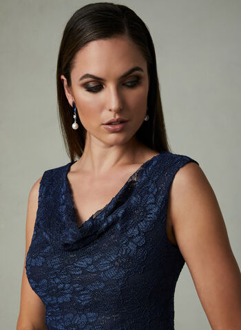 One by Eight - Drape Neck Lace Dress, Blue, hi-res