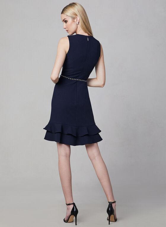 Karl Lagerfeld Paris - Robe en crêpe à ceinture chaîne, Bleu, hi-res