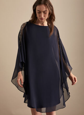 BA Nites - Embellished Poncho Dress, Blue,  cocktail dress, poncho, chiffon, pearls, rhinestones, spring summer 2020