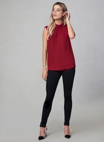 Haut sans manches en crêpe, Rouge, hi-res,  haut, sans manches, col chemisier inversé, crêpe, plis, automne hiver 2019