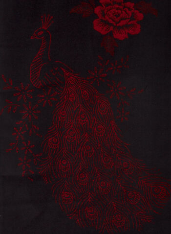 Floral & Peacock Motif Scarf, Red,  scarf, floral, peacock, jacquard, fringe, reversible, fall winter 2020