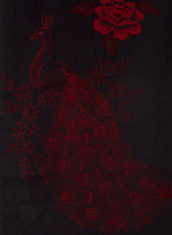 Foulard à motif fleurs et paon , Rouge