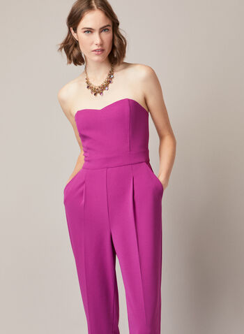 Bustier Style Jumpsuit, Purple,  jumpsuit, bustier, peg leg, tapered, exposed back, fall winter 2020