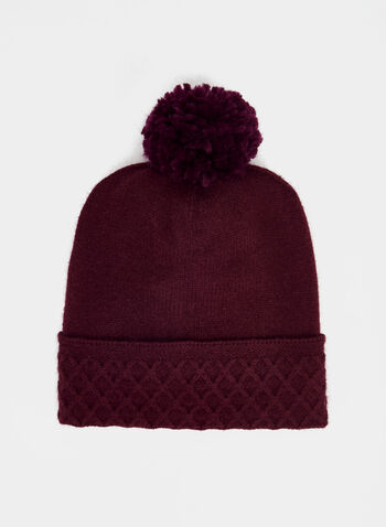 Echo New York - Pompom Knit Tuque, Purple,  tuque, knit, hat, pompom, diamond cuff, holiday, fall 2019, winter 2019