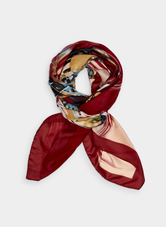 City Print Scarf, Red