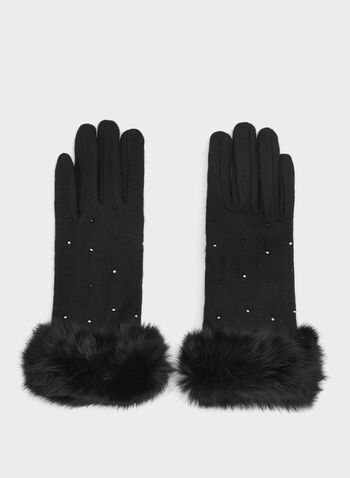 Rabbit Fur Trim Wool Gloves , Black, hi-res