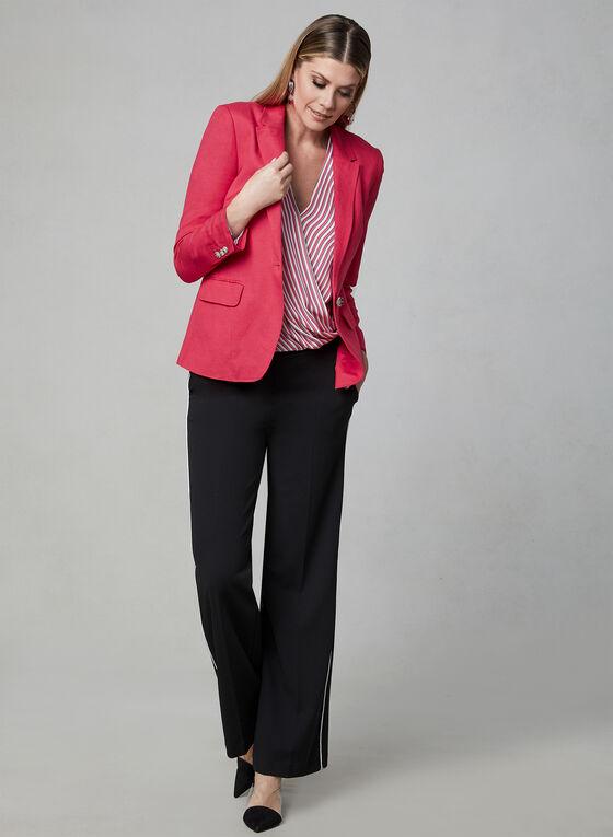 Single Button Linen Blazer, Pink, hi-res
