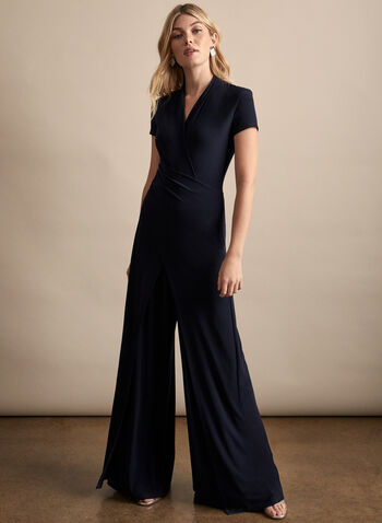 Joseph Ribkoff - Drape Detail Jumpsuit, Blue,  spring summer 2020, short sleeves, jersey fabric, wide leg