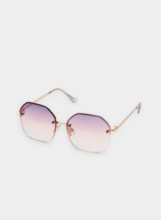Round Wire Frame Sunglasses, Pink, hi-res