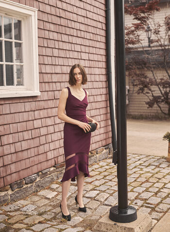 Adrianna Papell - Robe col V à ourlet trompette, Violet,  robe cocktail, ourlet trompette, maille filet, crêpe, sans manches, col v, printemps été 2021