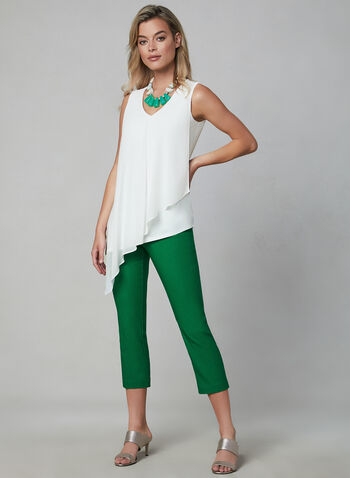 Asymmetrical Sleeveless Top, Off White, hi-res,  Canada, top, sleeveless, V-neck, asymmetrical, chiffon, spring 2019, summer 2019
