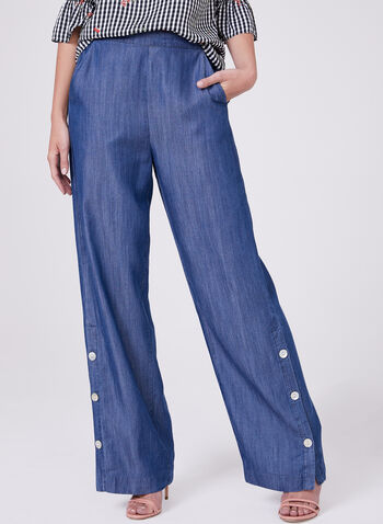 Pull On Tencel Pants, Blue, hi-res