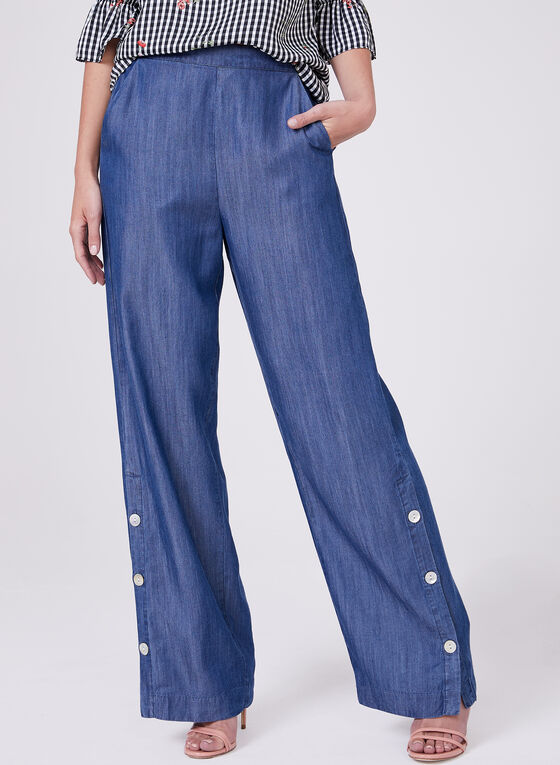 Pantalon aspect denim à jambe large et boutons, Bleu, hi-res