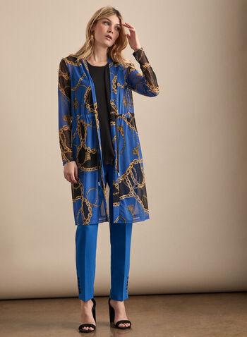 Chain Motif Mesh Top, Blue,  top, elastic waist, tie, mesh, chain, long sleeves, spring summer 2020