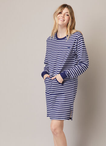 Printed Nightshirt, Blue,  fall winter 2020, nightshirt, pyjama, stripe print, long sleeve. pockets, sleepwear