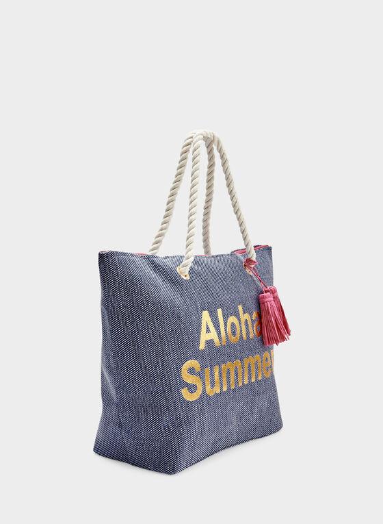 Tote Bag With Tassel Detail, Blue, hi-res