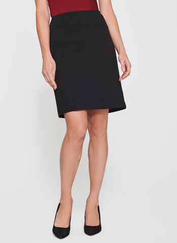 Pull-On Ponte Pencil Skirt, Black, hi-res