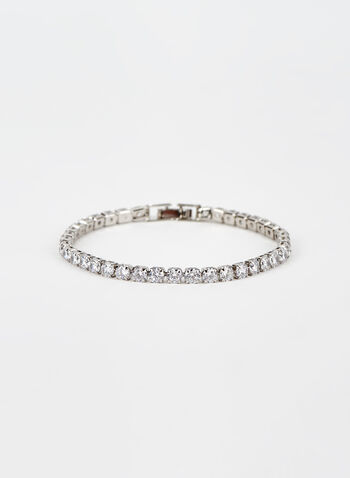 Faceted Crystal Bracelet, Silver, hi-res