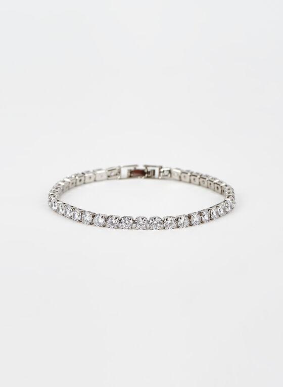 Faceted Crystal Bracelet, Silver, hi-res