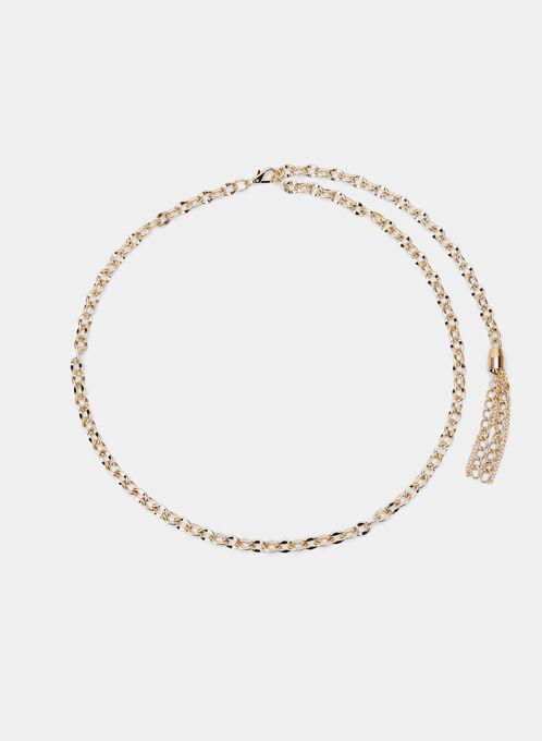 Metal Tassel Chain Belt, Gold, hi-res