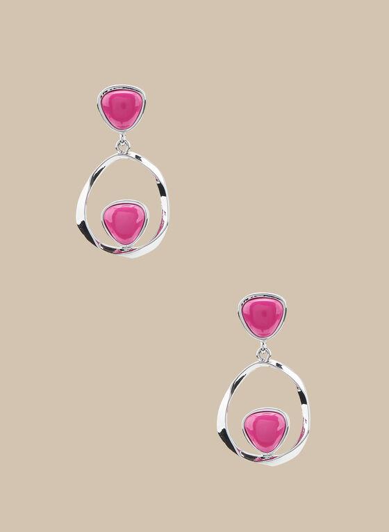 Boucles d'oreilles à anneau et pierres en résine, Rose