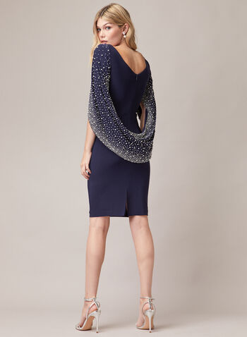 Pearl Embellished Drape Effect Dress, Blue,  cocktail dress, cape, drape, pearls, jersey, sheath, spring summer 2020