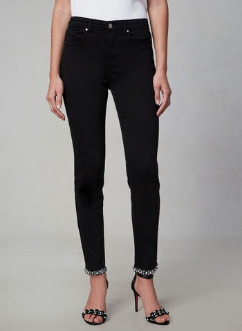 Frank Lyman - Slim Leg Jeans, Black,  jeans, denim, slim, pearl, detail, fall 2019, winter 2019