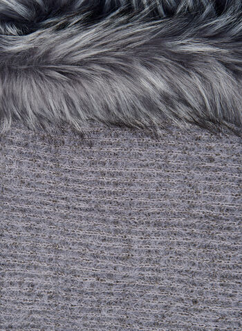 Faux Fur Trim Scarf, Grey, hi-res