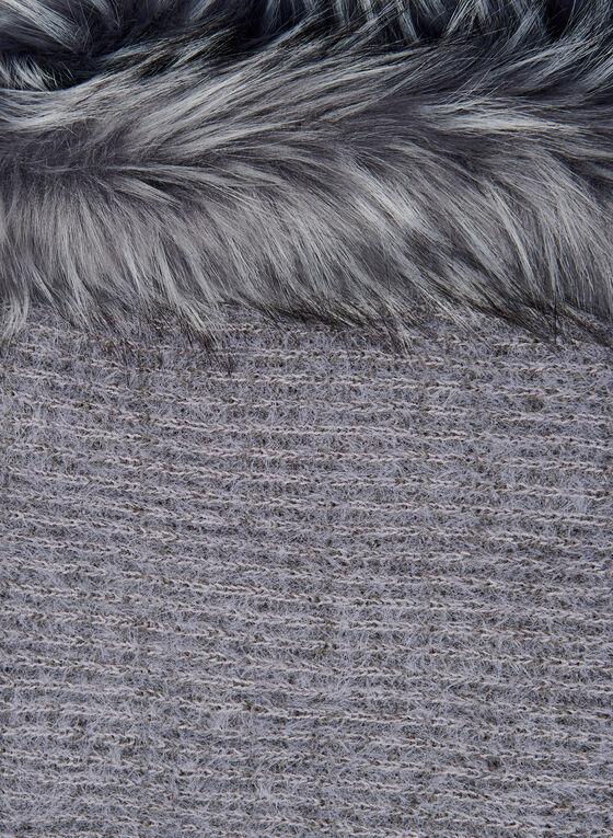Faux Fur Trim Scarf, Grey, hi-res