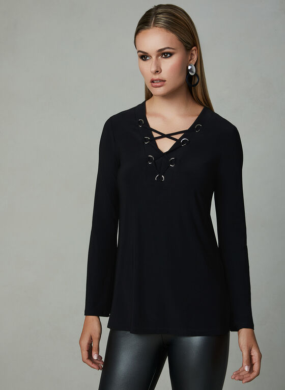Lace Up Bell Sleeve Top, Black, hi-res