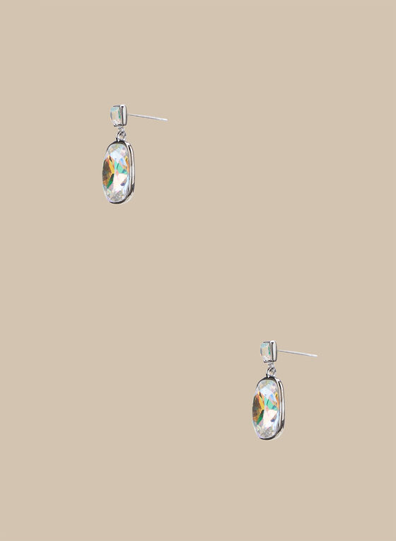 Rectangular Stone Earrings, Silver