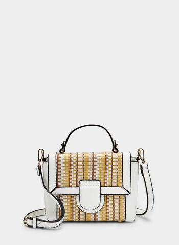 Striped Jacquard Satchel, White, hi-res