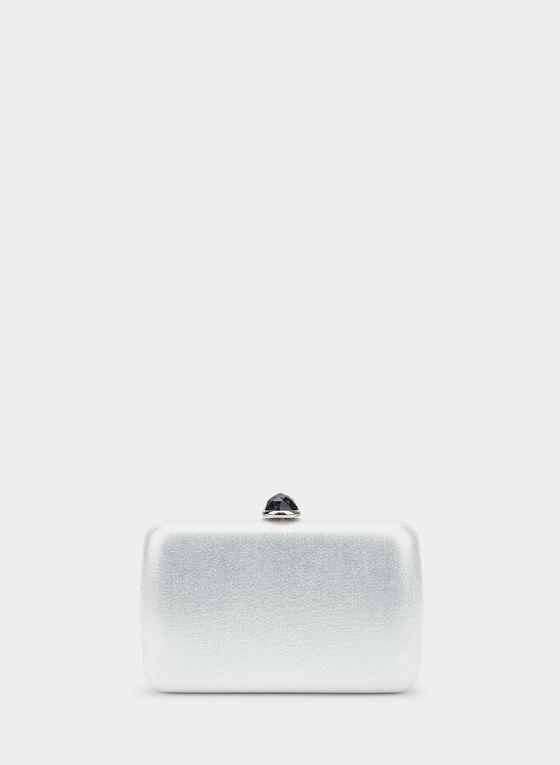 Rectangular Box Clutch, Silver, hi-res