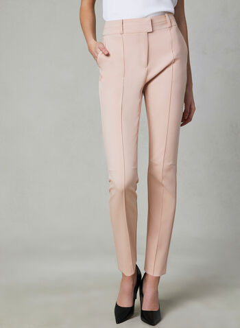 Stitch Detail Slim Leg Pants, Pink, hi-res