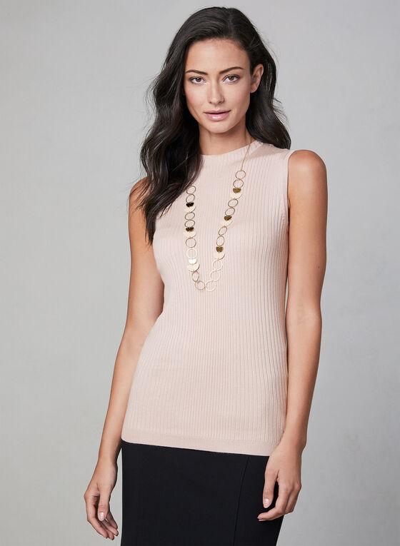 Sleeveless Ribbed Knit Top, Pink, hi-res