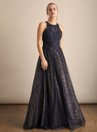 BA Nites - Rhinestone Mesh Ball Gown, Blue