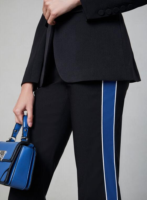 Pantalon à jambe étroite et bande colorée, Noir, hi-res