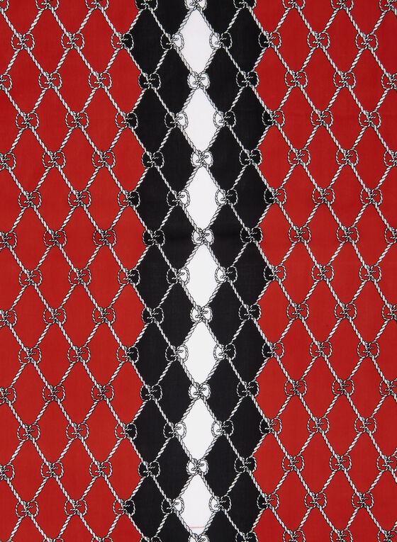 Link Print Scarf, Red, hi-res